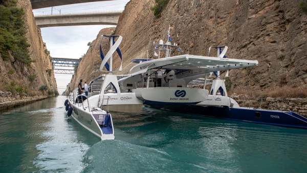 Energy Observer passing the Corinth Canal - © Energy Observer - Antoine Drancey