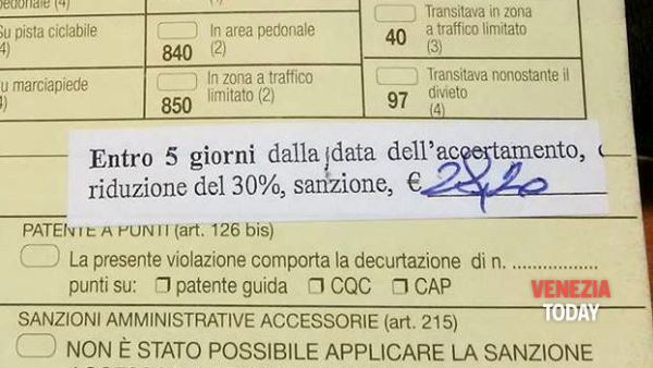 "Grafia ""incomprensibile"", pure Stradiotto paga la multa due volte"