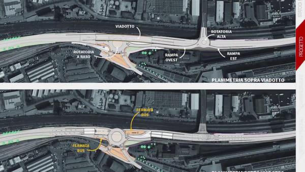 Nuova viabilità di accesso tra via Torino e il Vega: video degli interventi