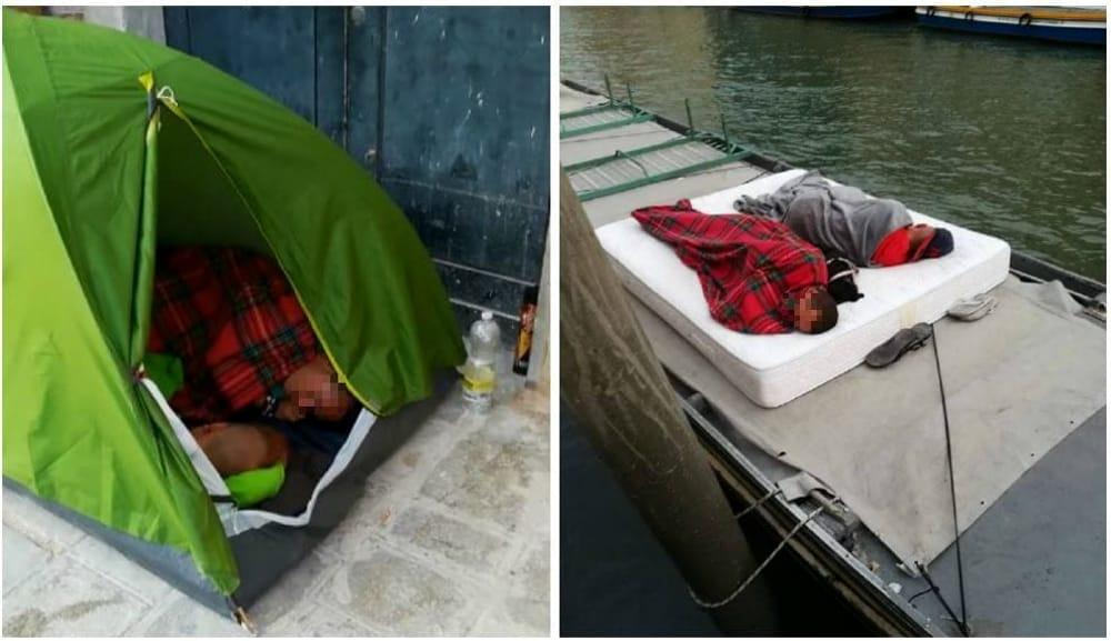 Turisti in tenda a Venezia in fondamenta Savorgnan